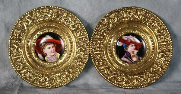 """131:  Pair porcelain and brass plates. D:12""""."""