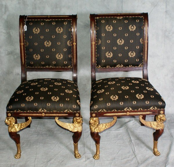 145B:  Pr empire style side chairs with bronze mounts.