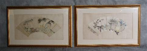 215D: Pr antique chinese water colors