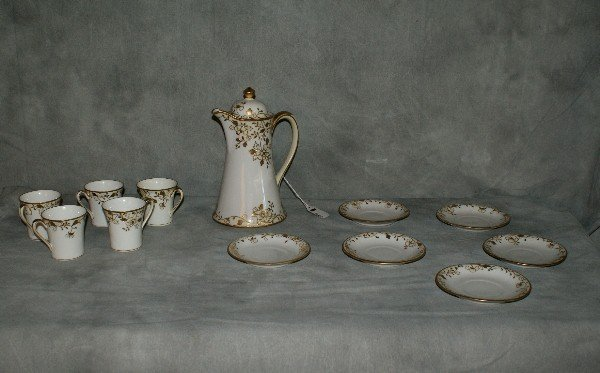 1:  12 piece porcelain painted chocolate set by Nippon