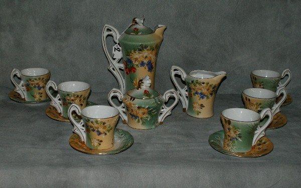 2:  15 piece porcelain painted Limoges tea set. Teapot