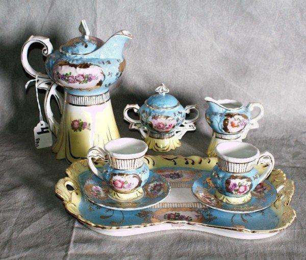 4:  8 piece Royal Vienna porcelain painted tea set with