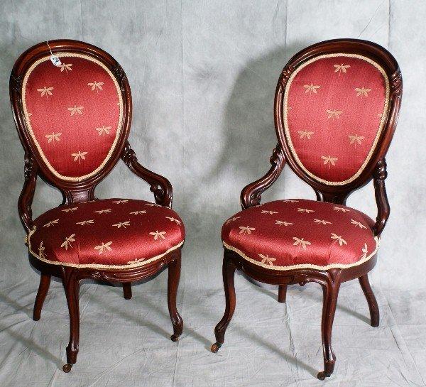 """24:  Pair victorian chairs . H:38"""" W:21"""" D:20""""."""