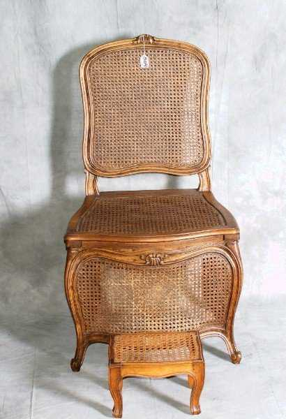 - 504: Antique Cane Commode Chair With Footstool