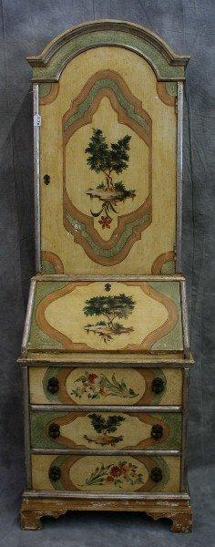 313B: Italain painted Secretary bookcase