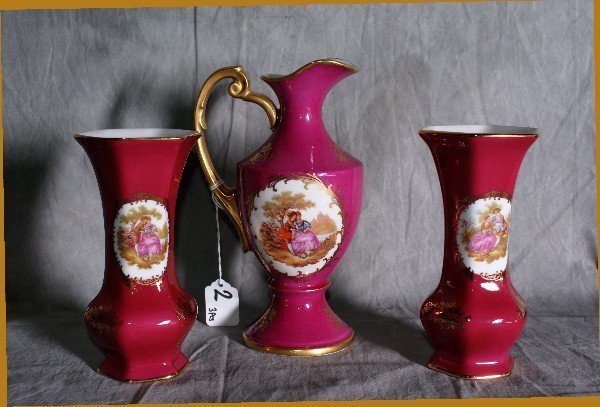 2:  Three pieces of painted limoges. Pitcher Height 8.5