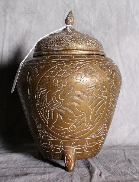 6:  Antique oriental brass covered vase signed on botto