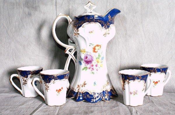 """9:  Five piece painted Limoges tea set. H:10.5""""."""