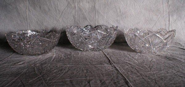 """10:  Three pieces of brilliant cut glass bowls. H:4"""" D:"""
