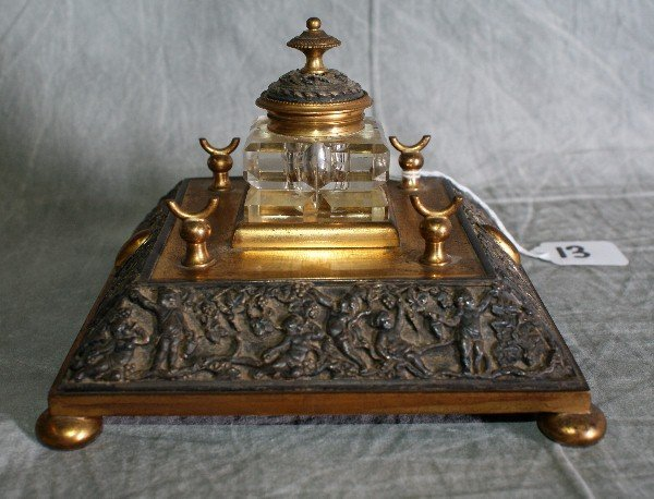 13:  Antique brass and crystal ink well decorated with