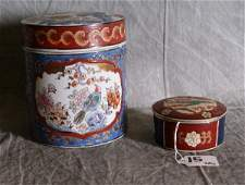 15: Two Japanese imari porcelain covered boxes. Larges