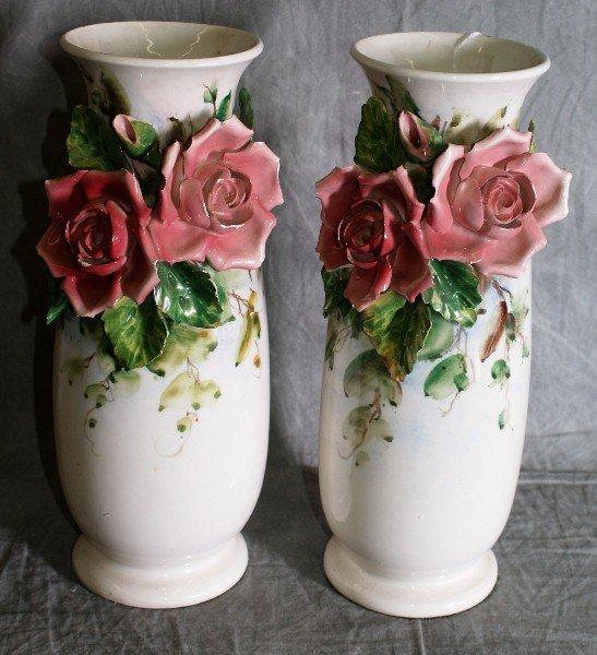"""16:  Pair Ceramic vases with flowers. H:12.5""""."""