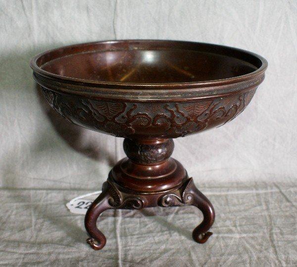 "22:  Antique Japanese bronze compote. H:7"" D:8""."