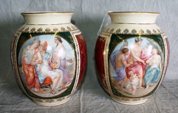 23:  Pair of German Porcelain hand painted scenic vases