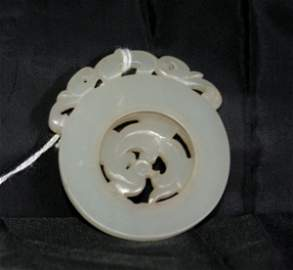 158:  19th C Chinese white jade prayer wheel with a rot