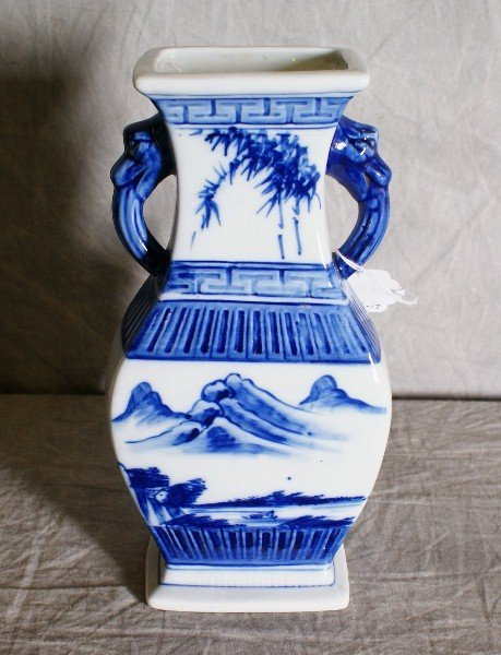 2: Chinese blue and white two handle porcelain vase. H: