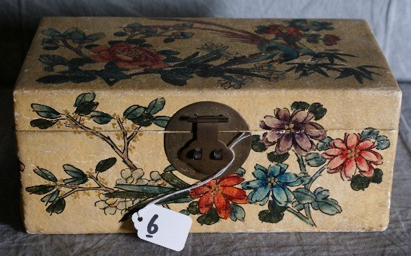 6: Chinese paint covered box with brass handles. H:4.75
