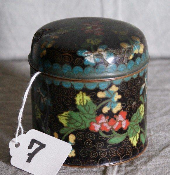 7: Chinese cloissonie covered box marked China on botto