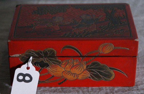 """8: Chinese red laquered covered box. H:2.5"""" L:5.5"""" D:3."""