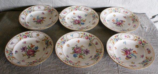 """13: Six Dresden porcelain painted plates. D:10"""""""