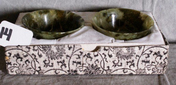 """14: Two Chinese spinach jade bowls. H:1.25"""" D:3"""""""