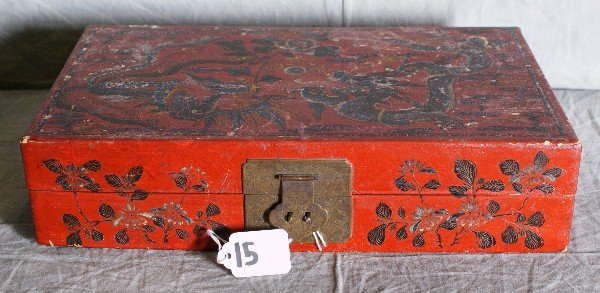 """15: Chinese painted and covered box. H:3"""" L:13.5"""" D:8"""""""