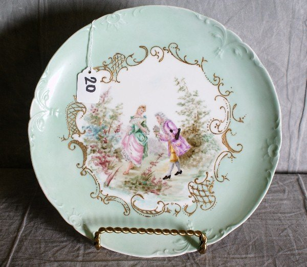 """20: 19th C French hand painted porcelain charger. D:12"""""""