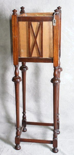 """22: Mahogany Plant stand with copper liner. H:41"""" W:12"""""""