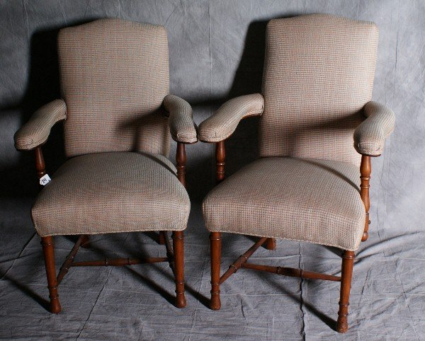 """24: Pair of mahogany upholstered arm chairs. H:37"""" W:24"""