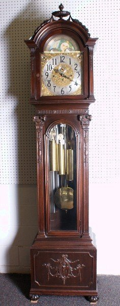 102: 19th C Grandfather clock in a Adam style case with