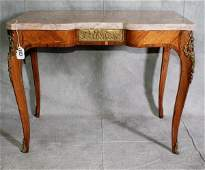 110: 19th C French marble top table with bronze mounts