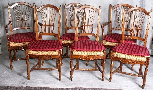 Set Of Six Country French Dining Chairs - Country french chairs