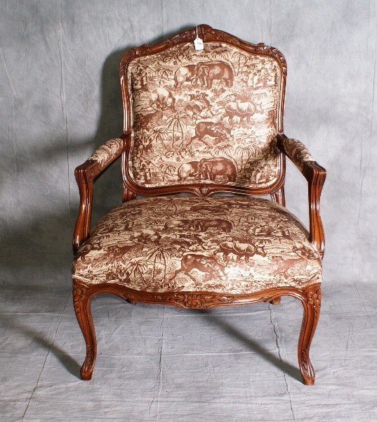"1: French mahogany upholstered arm chair. H:38.5"" W:25"""