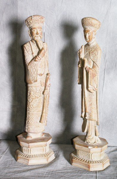 2: Large pair of terracotta style Chinese figures. H:26