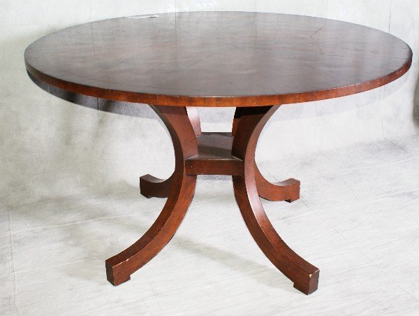 "5: Large mahogany inlaid center table. H:29"" D:48"""