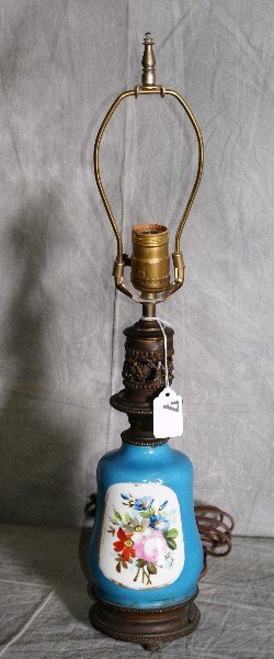 7: Sevres syle porcelain and bronze table lamp. H:21.5""
