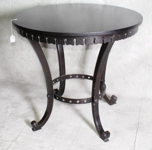 "13: Ebonized center table. H:29.5"" D:32"""