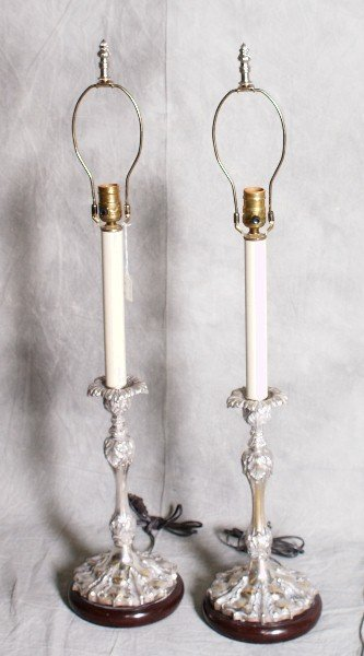 23: Pair of good quality silver plate candlestick lamps