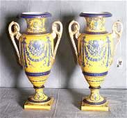 30: Pair rare Sevres porcelain hand painted 2 handled v