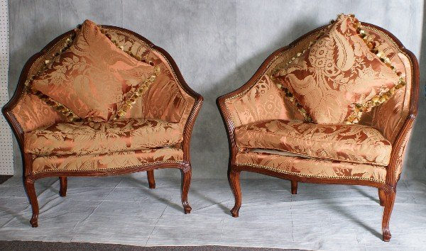 158: Large pair of French carved Marquises with silk up
