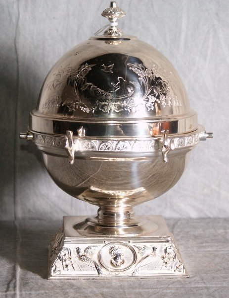 1: American silver plate domed butterdish with a repous
