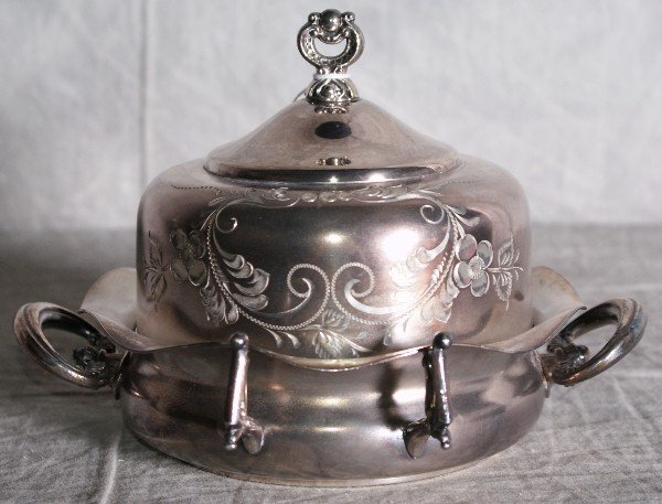 5:  American silver plate victorian dome covered butter