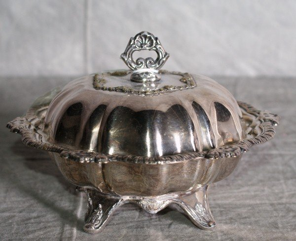 "6:  Silver plate victorian covered butter dish. H:5"" L:"