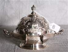 8  American silver plate repousse covered butter dish