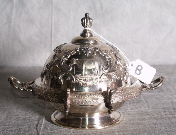8:  American silver plate repousse covered butter dish