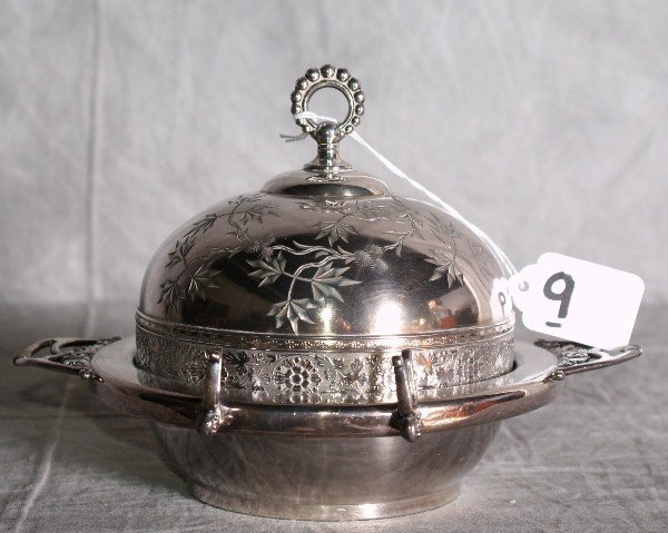 9:  American silver plate dome covered butter dish with