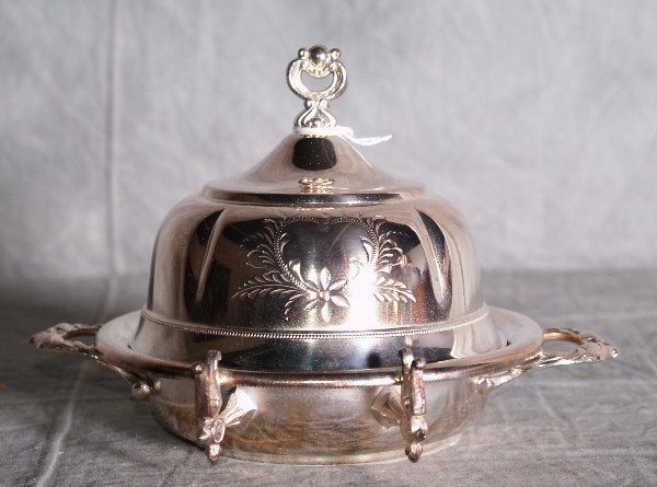 11:  American silver plate dome covered butter dish by