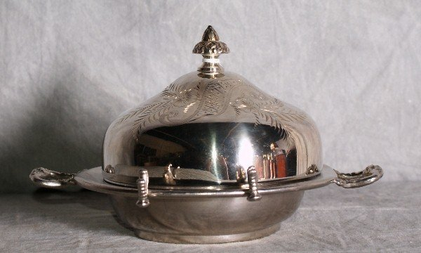 13:  American silver plate dome covered butter dish by