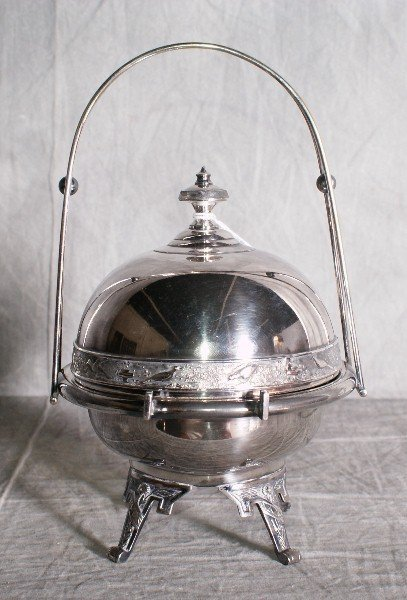 14:  American silver plate butter dish with a dome that
