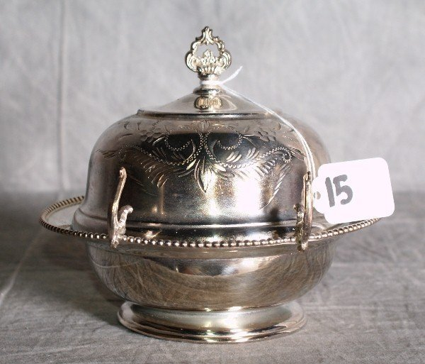15:  American silver plate dome covered butter dish . H